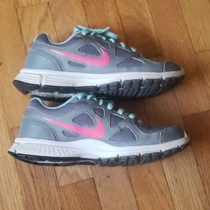 Nike Revolution 7.5 Gray + Pink + Light Blue